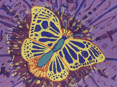 Poster featuring the painting The Butterfly Conspiracy by Yshua The Painter