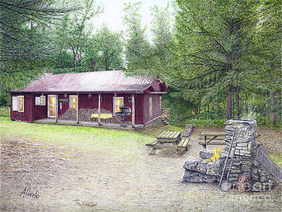 Poster featuring the painting The Cabin In The Woods by Albert Puskaric