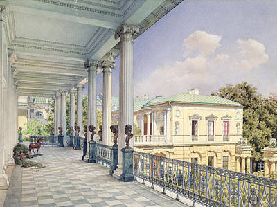 The Cameron Gallery At Tsarskoye Selo, 1859 Wc & White Colour On Paper Poster by Luigi Premazzi