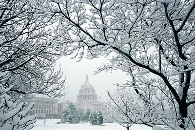 The Capitol In Snow Poster by Joe  Connors