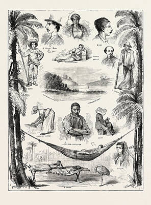 The Capture Of The Virginius, Sketches At Santiago Del Cuba Poster by Cuban School