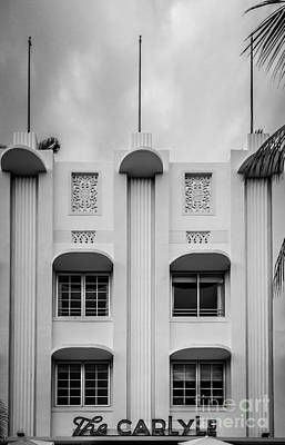 The Carlyle Art Deco Detail South Beach Miami - Black And White Poster