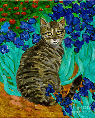 Poster featuring the painting The Cat At Van Gogh's Irises Garden by Jingfen Hwu