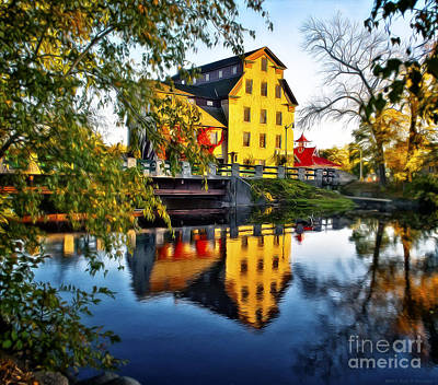 The Cedarburg Mill - Digital Oil Poster by Mary Machare