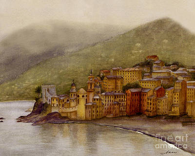 Poster featuring the painting The Charming Town Of Camogli Italy by Nan Wright