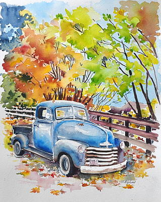 The Old Chevy In Autumn Poster