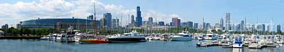 the Chicago Skyline with Burnham Harbor and Soldier Field Poster by Wernher Krutein
