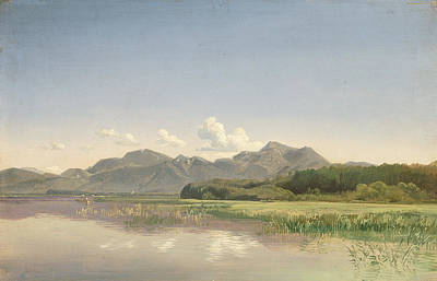 The Chiemsee At Stock Oil On Paper Mounted On Canvas Poster
