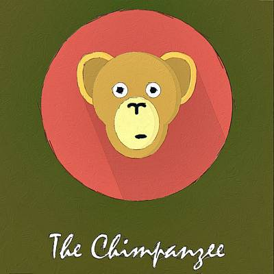The Chimpanzee Cute Portrait Poster by Florian Rodarte