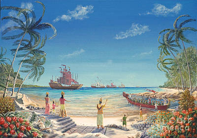 Poster featuring the painting The Chinese Treasure Fleet Arrives by Anthony Lyon