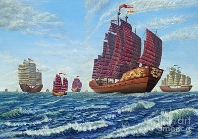 Poster featuring the painting The Chinese Treasure Fleet Sets Sail by Anthony Lyon