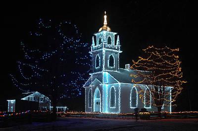 The Church - Alight At Night. Upper Canada Village Poster