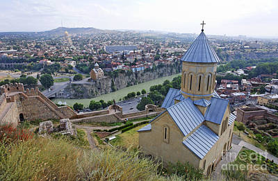 The Church Of St Nicolas Overlooking Tbilisi Georgia Poster