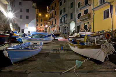 The Cinque Terre - Boats Of Riomaggiore Poster by Rob Greebon