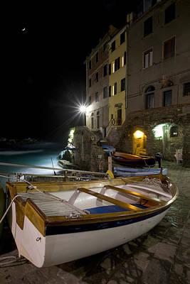 The Cinque Terre - Moon Over Riommagiore Harbor Poster by Rob Greebon