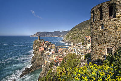 The Cinque Terre - Vernazza From The Upper Castle Poster by Rob Greebon