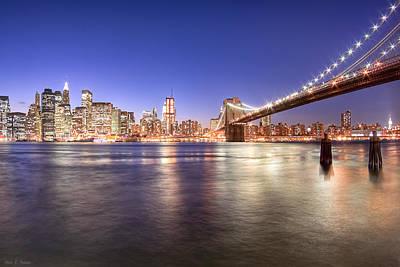 The City Lights Of Manhattan - Brooklyn Bridge Poster