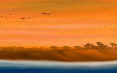 The Cliffs At Sunset - Digital Artwork Poster by Gina Lee Manley