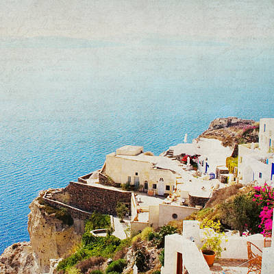 The Cliffside - Santorini Poster by Lisa Parrish