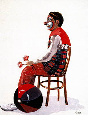Poster featuring the painting The Clown, Intermission by Joyce Gebauer