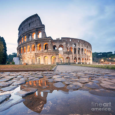 The Colosseum At Sunrise Rome Italy Poster