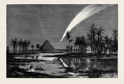The Comet As Seen From The Pyramids Poster by Egyptian School