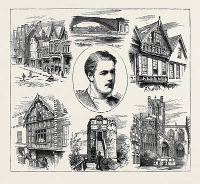 The Coming Of Age Of Earl Grosvenor, Views In Chester Poster by English School