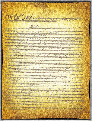 The Constitution On Vintage Tattered Paper  Poster by Eti Reid