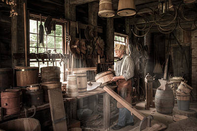 Poster featuring the photograph The Cooper - 19th Century Artisan In His Workshop  by Gary Heller