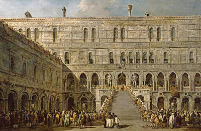 The Coronation Of The Doge Of Venice On The Scala Dei Giganti Of The Palazzo Ducale, 1766-70 Oil Poster