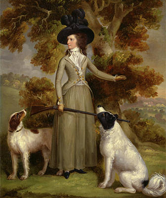 The Countess Of Effingham With Gun And Shooting Dogs Signed Poster by Litz Collection