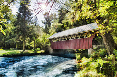 Poster featuring the photograph The Covered Bridge At The Red Mill by Joel Witmeyer