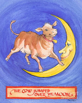Poster featuring the painting The Cow Jumped Over The Moon by Lora Serra