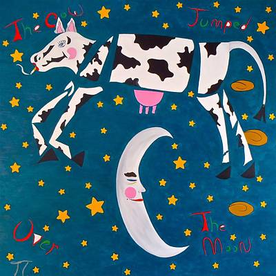 The Cow Jumped Over The Moon Poster by Troy Thomas