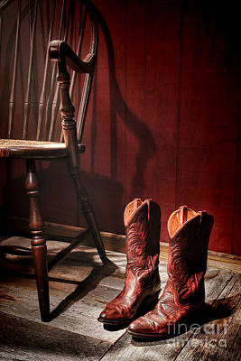 The Cowgirl Boots And The Old Chair Poster by Olivier Le Queinec