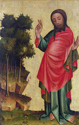 The Creation Of Dry Land And Vegetation, Detail From The Grabow Altarpiece, 1379-83 Tempera On Panel Poster by Master Bertram of Minden