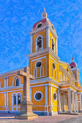The Cross Beside The Golden Cathedral - Granada Poster by Mark E Tisdale
