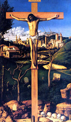 Poster featuring the painting The Crucifixion 1503 Giovanni Bellini by Karon Melillo DeVega