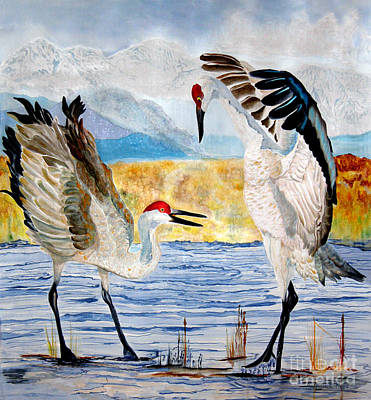 The Dance - Sandhill Cranes Poster by Anderson R Moore
