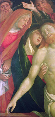 The Dead Christ With The Virgin And Saints Poster