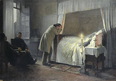 The Death Bed Of Madame Bovary, Before 1889 Oil On Canvas Poster by Albert-Auguste Fourie