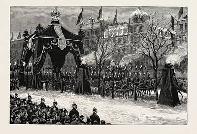 The Death Of The Emperor William,the Procession Passing Poster by German School