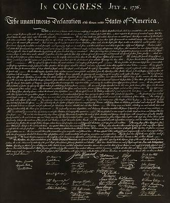 The Declaration Of Independence In Negative Sepia Poster