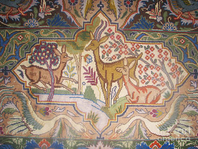 The Deers In The Frame And The Birds Photos Of Persian Rugs Kilims Carpets Poster