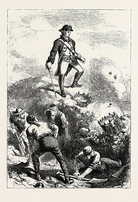 The Defence Of Breeds Hill Prescott In The Redoubt Poster by American School
