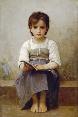 The Difficult Lesson Poster by William Bouguereau
