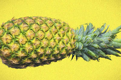 The Digitally Painted Pineapple Sideways Poster by David Haskett