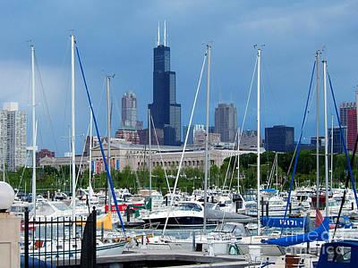 The Docks At Burnham Harbor Chicago Poster by Wernher Krutein
