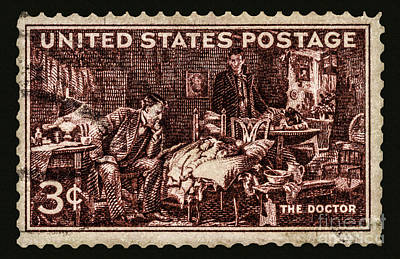 The Doctor - Concerned Physician Postage Stamp Poster by Phil Cardamone