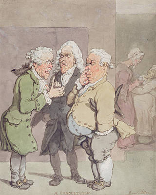 The Doctors Consultation, 1815-1820 Pen And Ink And Wc Over Graphite On Paper Poster by Thomas Rowlandson